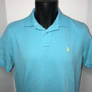 Polo Ralph Lauren Blue Yellow Pony Shirt Classic